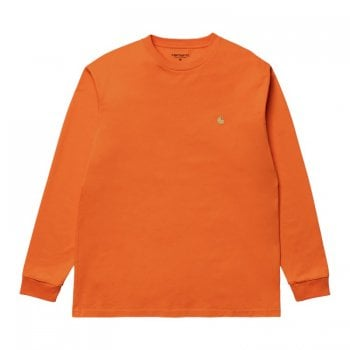 Carhartt Wip long sleeved Chase T shirt in Hokkaido orange with gold embroidered logo