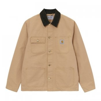 Carhartt Wip Michigan Coat in Dusty Hamilton Brown with tobacco brown cord collar