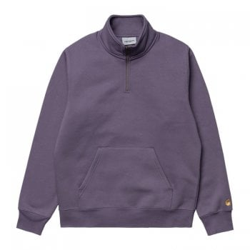 Carhartt Wip Chase Neck Zip Sweat in Provence purple with gold embroidered logo