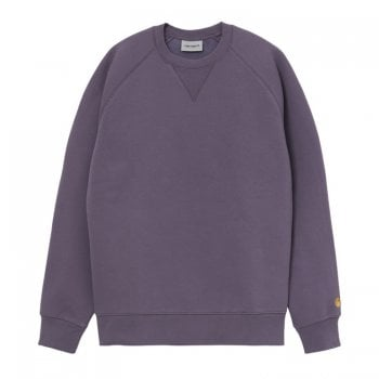 Carhartt Wip Chase Sweat Provence purple with gold embroidered logo