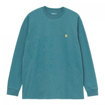 Carhartt Wip long sleeved Chase T shirt in Hydro blue with gold embroidered logo