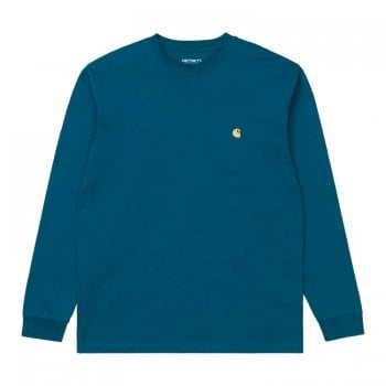 Carhartt Wip long sleeved Chase T shirt in Corse blue with gold embroidered logo