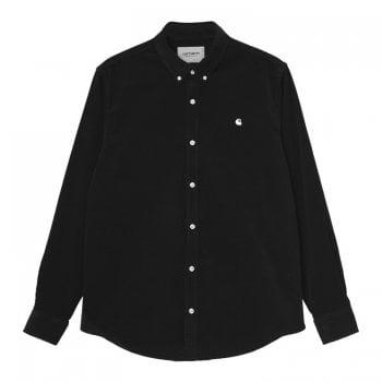 Carhartt Wip long sleeved Madison Fine Cord Shirt in black with wax coloured Carhartt logo