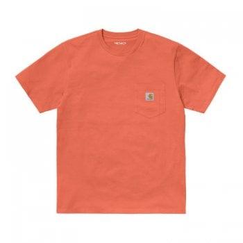 Carhartt Wip short sleeved Pocket T-shirt in Shrimp pink