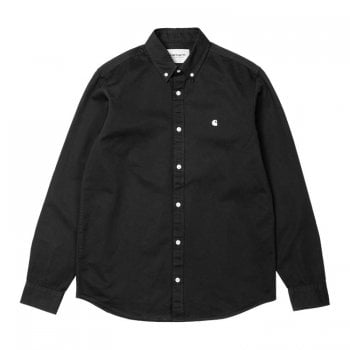 """Carhartt Wip long sleeved Madison Shirt in Black with wax coloured embroidered Carhartt """"C"""" logo"""
