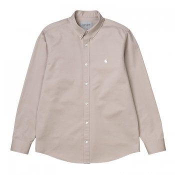 "Carhartt Wip long sleeved Madison Shirt in Glaze with wax coloured embroidered Carhartt ""C"" logo"