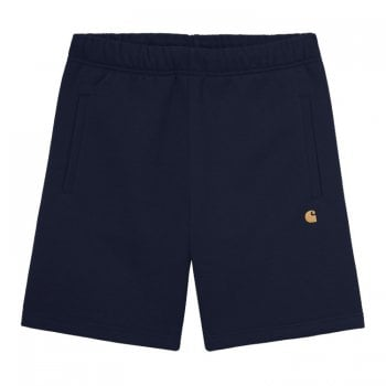 """Carhartt Wip Chase Sweat Shorts in Dark Navy with gold embroidered Carhartt """"C"""" logo"""