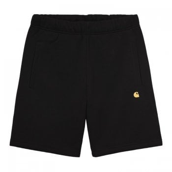"Carhartt Wip Chase Sweat Shorts in Black with gold embroidered Carhartt ""C"" logo"