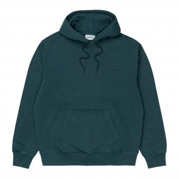 Carhartt Wip Hooded Mosby Script Sweat in Deep Lagoon teal garment dyed and washed, 13.3 oz 100% cotton, brushed sweat fabric