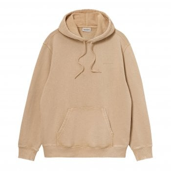 Carhartt Wip Hooded Mosby Script Sweat in Dusty Heather Brown garment dyed and washed, 13.3 oz 100% cotton, brushed sweat fabric