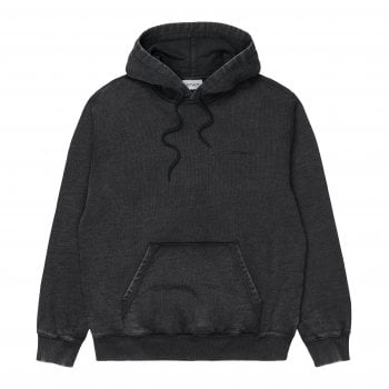 Carhartt Wip Hooded Mosby Script Sweat in Black garment dyed and washed, 13.3 oz 100% cotton, brushed sweat fabric