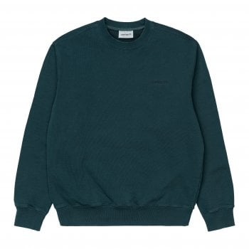 Carhartt Wip Mosby Script Sweat in Deep Lagoon garment dyed and washed cotton sweat fabric