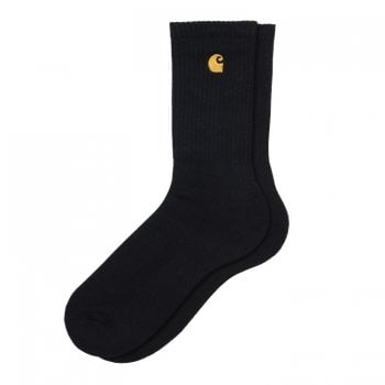 Carhartt Wip Chase Socks in Black with gold embroidered logo