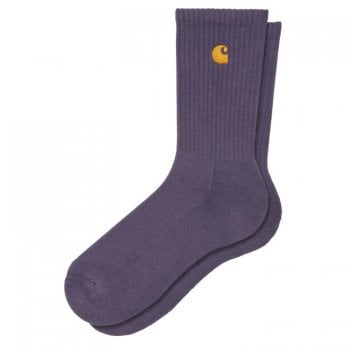 Carhartt Wip Chase Socks in Provence purple with gold embroidered logo