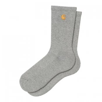 Carhartt Wip Chase Socks in Grey Heather with gold embroidered logo