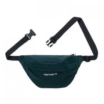 Carhartt Wip Payton Hip Bag in Deep Lagoon teal with white embroidered Carhartt logo