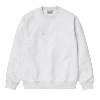 Carhartt Wip Carhartt Sweat in Ash Heather with white embroidered Carhartt logo