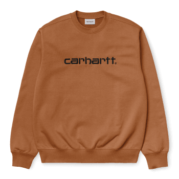 Carhartt Wip Carhartt Sweat in Rum with black embroidered Carhartt logo