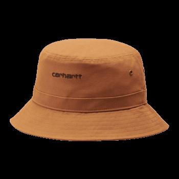 Carhartt Wip Script Bucket Hat in Rum with black embroidered Carhartt Script logo