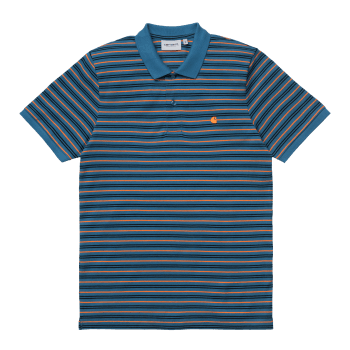 Carhartt Wip short sleeved Akron striped polo Shirt in Shore blue