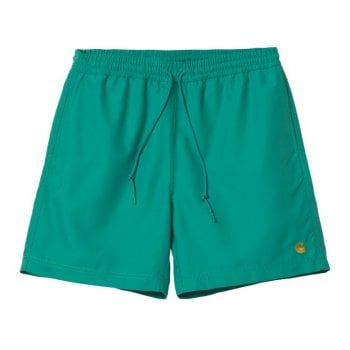 Carhartt Wip Chase Swim Trunks in Hydro with gold embroidered Carhartt C logo