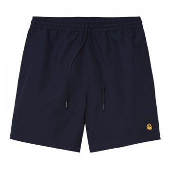 Carhartt Wip Chase Swim Trunks in dark navy with gold embroidered Carhartt C logo