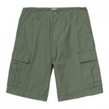Carhartt Wip Field Cargo Shorts in Dollar Green 5oz Pasadena fabric