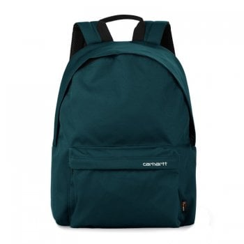 Carhartt Wip Payton Backpack in Deep Lagoon with white embroidered Carhartt script logo