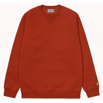 Carhartt Wip Chase Sweat in Copperton with gold coloured embroidered Carhartt C logo