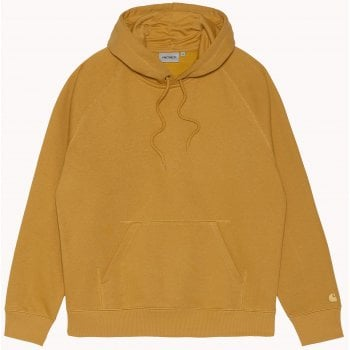 Carhartt Wip Hooded Chase Sweat in Helios with gold coloured embroidered Carhartt C logo