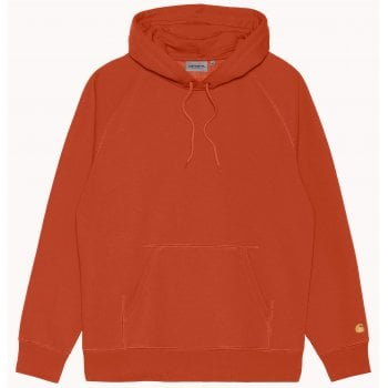 Carhartt Wip Hooded Chase Sweat in Copperton with gold coloured embroidered Carhartt C logo