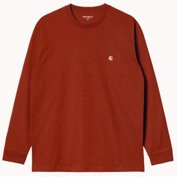 Carhartt Wip long sleeved Chase T shirt in Copperton with gold coloured embroidered Carhartt C logo