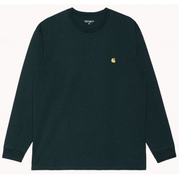 Carhartt Wip long sleeved Chase T shirt in Frasier green with gold coloured embroidered Carhartt C logo