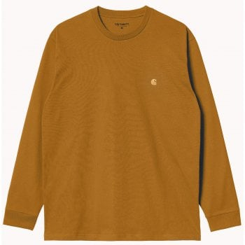 Carhartt Wip long sleeved Chase T shirt in Helios with gold coloured embroidered Carhartt C logo