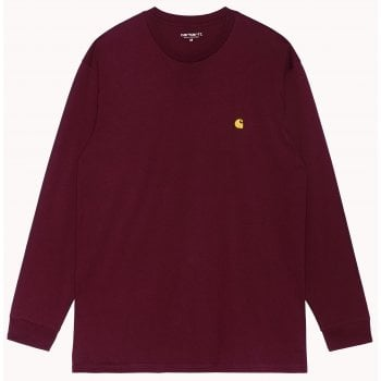 Carhartt Wip long sleeved Chase T shirt in Jam with gold coloured embroidered Carhartt C logo
