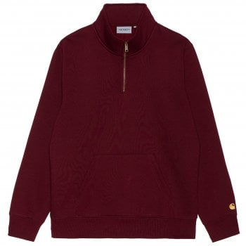 Carhartt Wip Chase Neck Zip Sweat in Jam with gold coloured embroidered Carhartt C logo