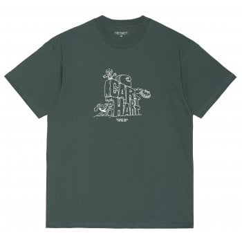 Carhartt Wip short sleeved Stoneage T Shirt in Eucalyptus with white graphic print