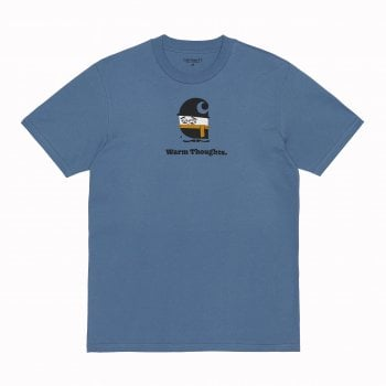Carhartt Wip short sleeved Warm Thoughts T shirt in icesheet blue