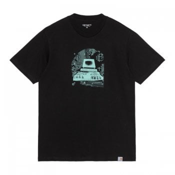 Carhartt Wip short sleeved Systems C T Shirt in Black with light Blue graphic print