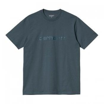 Carhartt Wip short sleeved Script T Shirt in Eucalyptus with Frasier Green Carhartt Script logo