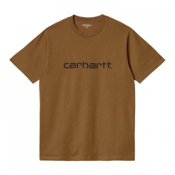 Carhartt Wip S/s short sleeved Script T Shirt in Hamilton Brown with black Carhartt Script logo