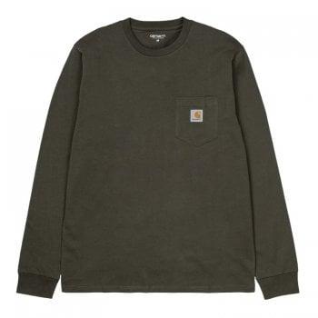 Carhartt Wip long sleeved Pocket T Shirt in Cypress