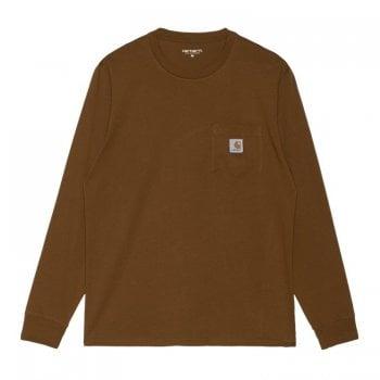 Carhartt Wip long sleeved Pocket T Shirt in Tawny Brown