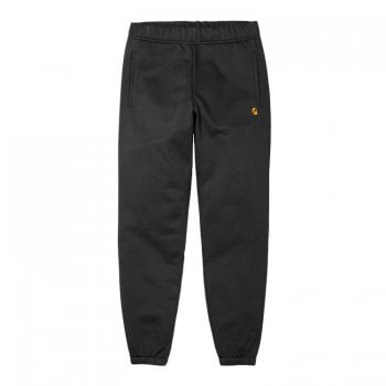 Carhartt Wip Chase Sweat Pants in Dark Navy with gold embroidered Carhartt C logo