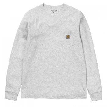 Carhartt Wip long sleeved Pocket T Shirt Ash Heather Grey