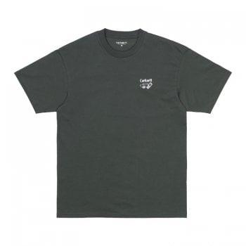 Carhartt Wip short sleeved Screensaver T Shirt in Slate with white print