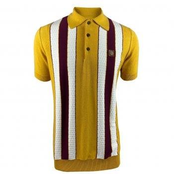 Ska And Soul Trojan Fine Gauge Striped Polo Mustard
