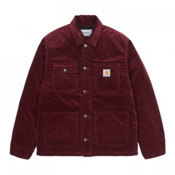 Carhartt Wip Michigan Coat in Jam Rinsed 8 Wales 9.7 oz 100% Cotton 'Coventry' Corduroy