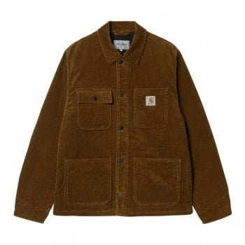 Carhartt Wip Michigan Coat in Tawny Rinsed 8 Wales 9.7 oz 100% Cotton 'Coventry' Corduroy