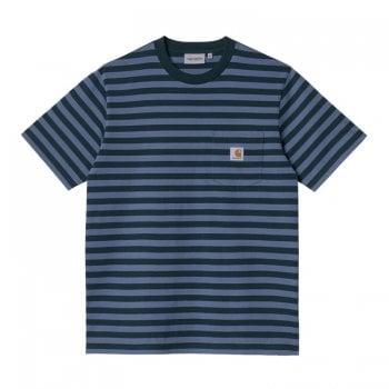 Carhartt Wip short sleeved Scotty Pocket T shirt in Frasier green and ice sheet blue